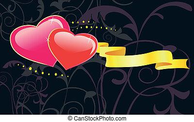 giorno valentines, floreale, fondo