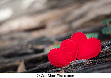giorno valentines, fondo, con, due cuori