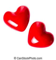 giorno valentines, fondo, con, due, rosso, cuori, isolato,...