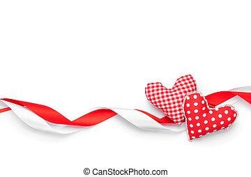 giorno valentines, fondo, con, giocattolo, cuori, e, nastri
