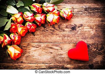 giorno valentines, fondo, con, rose, e, hearts.