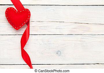 giorno valentines, giocattolo, cuore, e, nastro