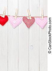 giorno valentines, giocattolo, cuori, appendere, corda