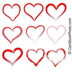giorno valentines, rosso, cuori, vettore, cuore, valentina