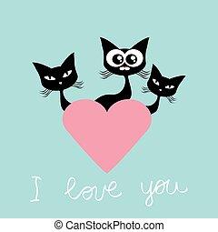 giorno valentines, scheda, gatto, vettore, illustrazione