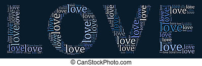 giorno valentines, scheda, parola, nuvola, concetto