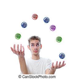 giovane adulto, manipolazione, palle