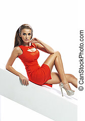 giovane, allettante, donna, il portare, vestito rosso