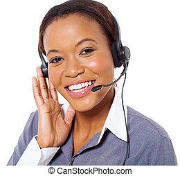 giovane, americano africano, centro chiamata, operatore