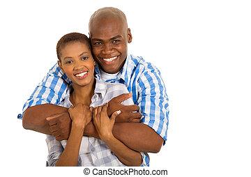 giovane, americano africano, coppia sposata