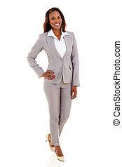 giovane, americano africano, donna d'affari