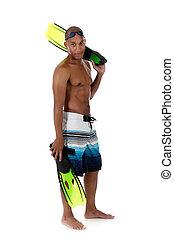 giovane, attraente, africano americano uomo, in, costume da bagno, felice