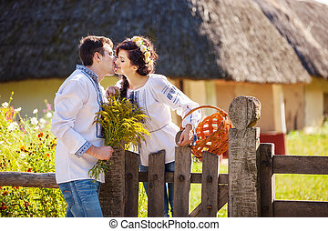 giovane, baciare, coppia, romantico, fuori