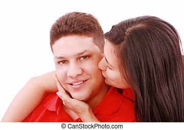 giovane, baciare, lei, ragazzo