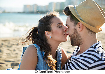 giovane, baciare, lei, ragazzo, naso