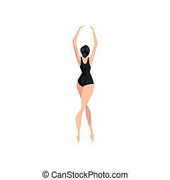 giovane, ballerina, ballo, in, nero, leotard, professionale, ballerino balletto, vettore, illustrazione, su, uno, sfondo bianco