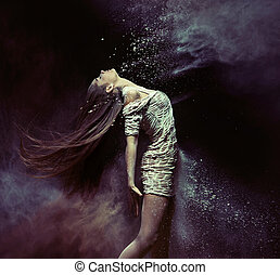 giovane, ballerino balletto, ballo, con, il, polvere
