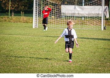 giovane bambino, ragazzo, gioco soccer