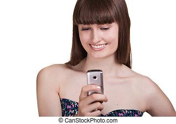 giovane, bella donna, con, telefono mobile