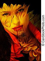 giovane, bella donna, fantasia, ritratto, doppia esposizione