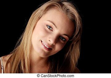 giovane, bella donna, ritratto