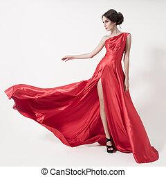 giovane, bellezza, donna, in, starnazzando, rosso, dress., bianco, fondo.