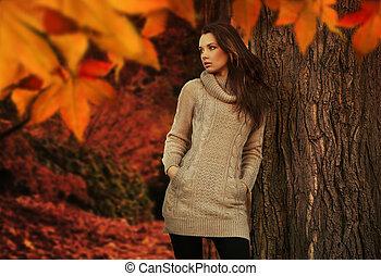 giovane, bellezza, in, uno, autunno, scenario