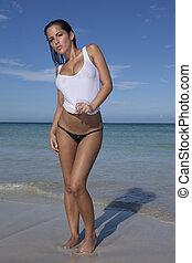 giovane, bello, spiaggia, donna
