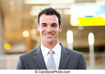 giovane, bello, uomo affari, ritratto