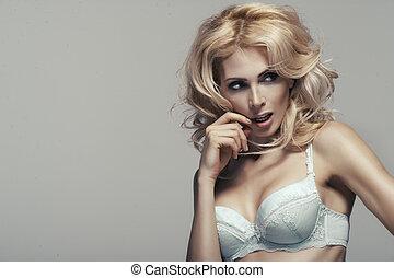 giovane, biancheria intima, donna, sparare, moda, sexy