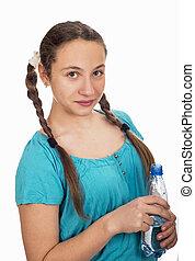 giovane, bottiglia acqua, mani, ritratto, ragazza