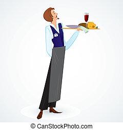 giovane, cameriere, vettore, illustrazione