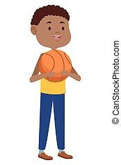 giovane, carattere, uomo, balloon, pallacanestro, afro