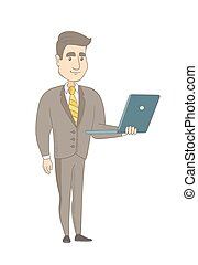 giovane, caucasico, uomo affari, usando, uno, laptop.