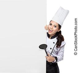 giovane, chef, presentare