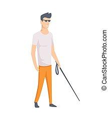 giovane, cieco, handicappato, illustrazione, vettore, appartamento, disegno, stick., person., tipo