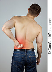 giovane, con, dolore schiena