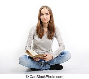 giovane, con, libro