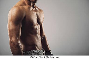 giovane, con, muscolare, corpo