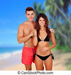 giovane coppia, amore, spiaggia