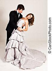 giovane coppia, attraente, ballo