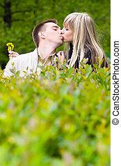 giovane coppia, baciare, in, cespugli verdi