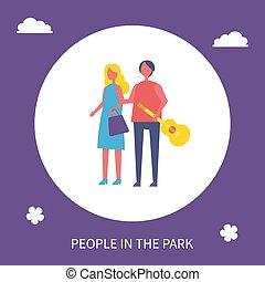 giovane coppia, camminare, parco, cartone animato, icona, bandiera