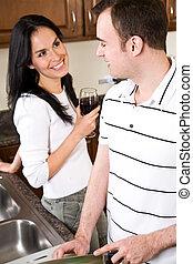 giovane coppia, cucina