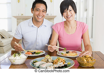 giovane coppia, godere, cibo cinese