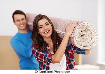 giovane coppia, muoversi dentro, a, casa nuova