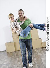 giovane coppia, muoversi dentro, casa nuova