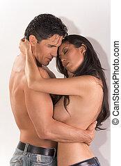 giovane coppia, nudo, uomo donna, amore, abbracciare