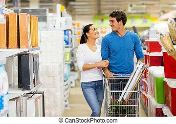 giovane coppia, shopping, a, supermercato