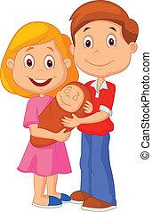 giovane coppia, teneramente, cartone animato, adulto